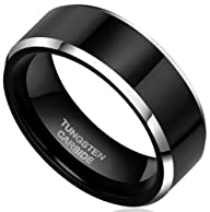 8mm Black Tungsten Carbide Rings Flat…