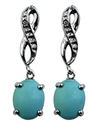 Carillon India Turquoise & White Topaz Sterling Silver Drop Earring