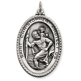 Sterling Silver Antiqued Saint Christopher Medal