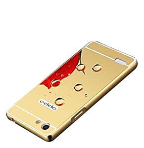 Carla Branded Luxury Metal Bumper + Acrylic Mirror Back Cover Case For OppoNeo7 Gold + Mini Aux wired Selfie Stick.