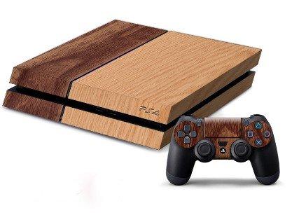 PS 4 / プレイステーション 4 専用 3D カーボン カバー 保護 スキン シール 本体用 コントローラー 用 ×2枚 (木目調)