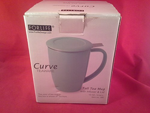 Forlife Curve Tall Tea Mug With Infuser And Lid 15 Oz, Sage