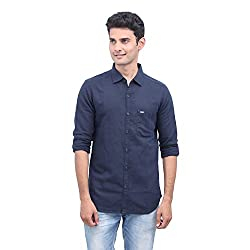 urbantouch navy blue solid shirt