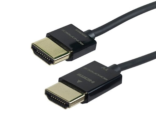 Monoprice 10-Feet Ultra Slim Series High Speed HDMI Cable with RedMere Technology, Black