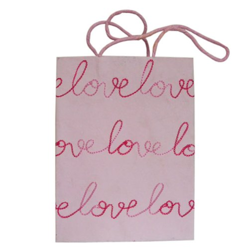 Valentine's day gift. 5 Piece Lot Cotton Recycled Indian Craft Paper Bag Pink With Script Embroidery LOVE
