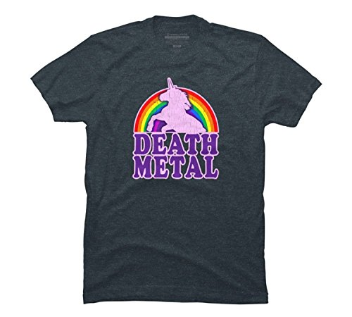 Meyee Nadigt Funny! Death Metal Unicorn (vintage distressed) Men's Graphic T Shirt