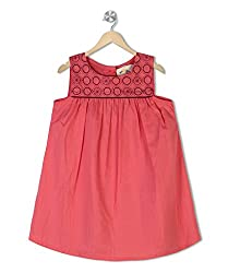 Budding Bees Girls Coral Printed Embroidered Printed A-Line Dress