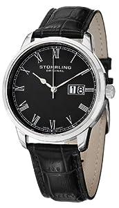 Stuhrling Original Men's 831L.02 Classic Cuvette Panache Analog Display Swiss Quartz Black Watch