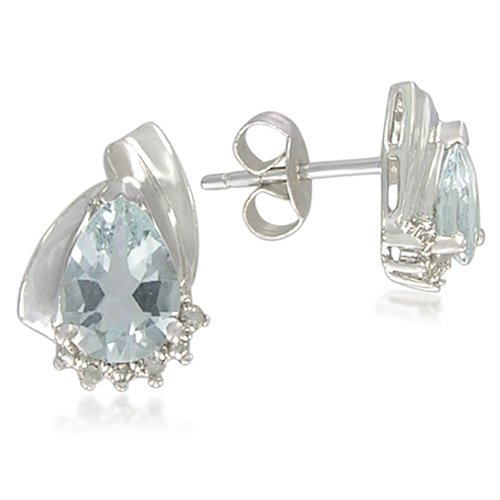 Sterling Silver Pear-Shaped 5x7mm Aquamarine Stud Earrings
