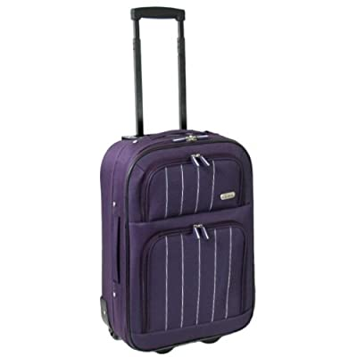 Karabar Cabin Approved Super Lightweight Suitcase 55 x 38 x 20 cm all parts included (Aubergine)