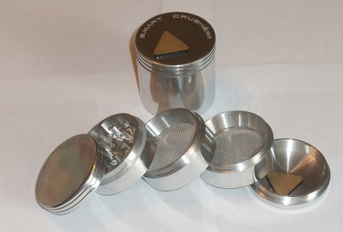 Smart Crusher 5 Piece 2.25' Spice Herb Pollen Grinder Heavy Duty Pollen Scrapper