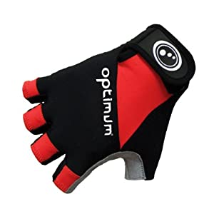 Optimum Men's Cycling Fingerless Glove - Black/Red, Small