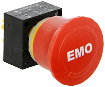 Siemens 3SB30 00-1XB80 Emergency Stop Mushroom Pushbutton and holder, 40mm Head, Mechanical Latching Function, Turn Left To Unlatch, Red