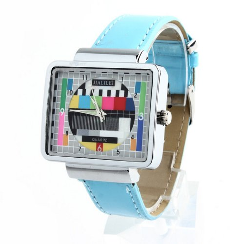 Jialilfi Faux Leather Band Luxury Square Tv Test Analog Quartz Watch Light Blue