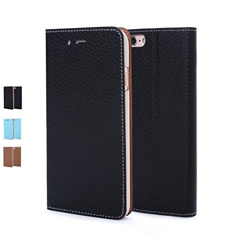 Parallel iPhone6/6s用 手帳型本革高級ケース (ICカード収納ポケット×1/ スタンド機能) スマートブック ブラック(Black)