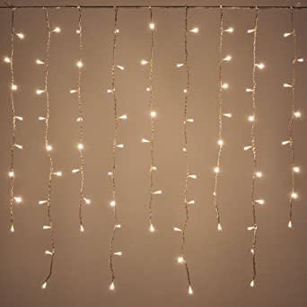 Led lichtervorhang 1 x 1 m 80 leds warmwei for Lichtervorhang weihnachten