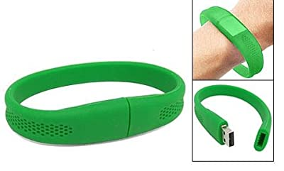 4GB Green Silicone USB Wristband / Flashband Pen Drive...Water Resistant...Optional Password Protection...Plug & Play for Windows XP, 7, Vista Desktop / Netbook / Laptop / Notebook, iMac, Macbook from Radz Accessories