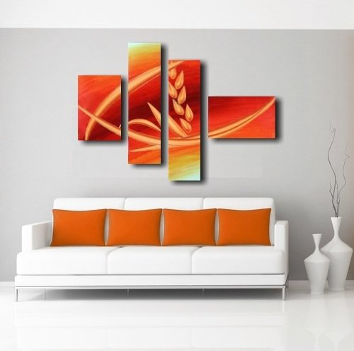 Quadri moderni olio su tela dipinti a mano arancione for Dipinti a mano moderni
