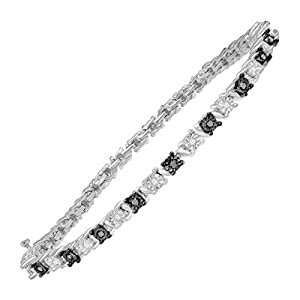 1/3 ct Black and White Diamond Tennis Bracelet in Sterling Silver