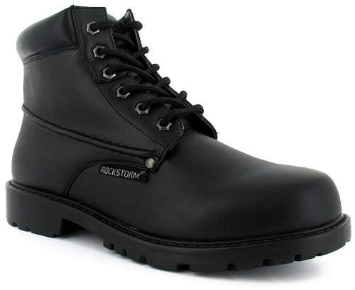 Mens Black Lace Up Midcut Boots Wider Fitting - Black - UK 8