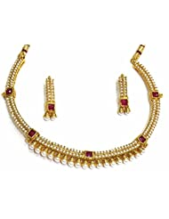 SHINGAR JEWELLERY ANTIQUE GOLD LOOK NECKLACE SET FOR WOMEN