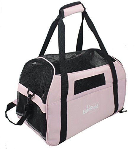 EliteField Soft Sided Pet Carrier (3 Year Warranty, Airline Approved), Multiple Sizes and Colors Available (Large: 19″L x 10″W x 13″H, Pink)
