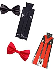 Sunshopping unisex black and red stretchable suspenders with bow combo (r-239) (Multi-Coloured)