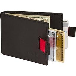 RFID Blocking Slim Mens Leather Wallet with Money Clip - Bifold Front Pocket Design - Travel Bifold Design With Credit Card Protection - Men - 100% Premium Genuine Saddle Leather - Obsidian Black
