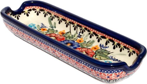 "Polish Pottery Corn-On-The-Cob Dish From Zaklady Ceramiczne Boleslawiec 1517-149 Art Signature Pattern, Dimensions: Length: 8.75"" Width: 3"""