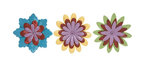 Benzara Beautiful and Adorable Assorted Flower Wall Decor Set of 3 - 1