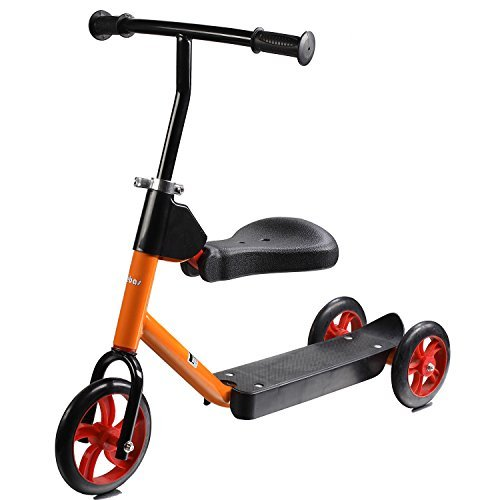 Lebas 2 in 1 Kick Scooter for Kids with removable seat, 3 wheels Kid Scooter, Orange and Black