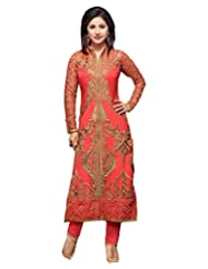 London Beauty Dark Peach Georgette Embroidered SemiStitched Salwar With Dupatta