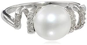 Sterling Silver 9-9.5 MM Freshwater Cultured Pearl and Diamond Ring, (0.05 Cttw, G-H Color, I2-I3 Clarity) from Delmar Mfg LLC