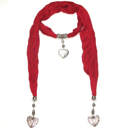 Lovarzi Women's Beautiful Jewellery Scarf with Heart Pendants - Perfect Gift for Her - Available in Black, Purple, Red, Grey, Pink, Green, White and Blue
