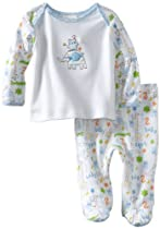 ABSORBA Baby-Boys Newborn Two Piece Footed Pant Set, White/Print, 3-6 Months