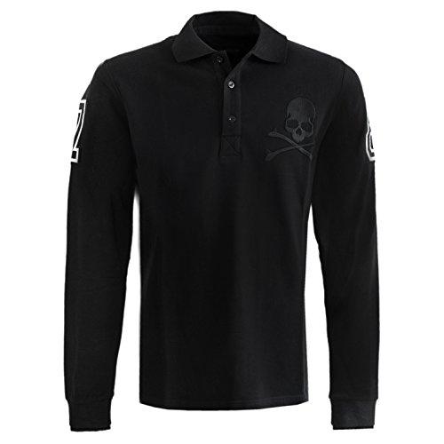Philipp Plein Polo Long sleeve Seven Eight Black Longsleeve Sweatshirt Poloshirt Langarmshirt Herren Shirt Slim-Fit körperbetont Langarm T-Shirt Operteil Schwarz mit Stickerei und Applikationen (XXL) thumbnail