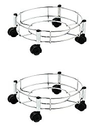 Doyours Gas Cylinder Trolley (Set of 2, Steel Glossy)