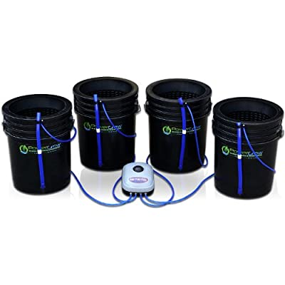 "Deep Water Culture (DWC) Hydroponic Bubbler Bucket Kit by PowerGrow ® Systems (4) 5 Gallon - 10"" Buckets"