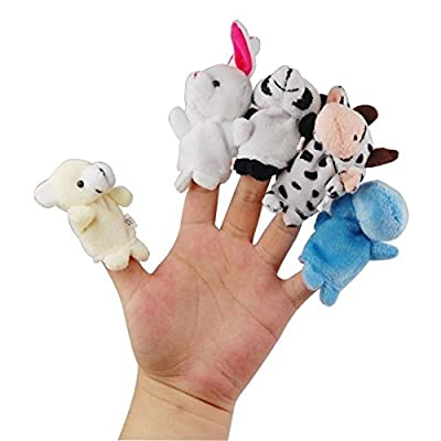 LEORX 10pcs Different Cartoon Animal Finger Puppets Soft Velvet Dolls Props Toys from LEORX