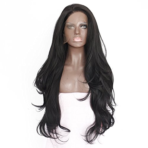 """Generic Handmade Women's Long Curly Synthetic Hair Lace Front Wigs Heat Resistant, 24"""" L, Black"""