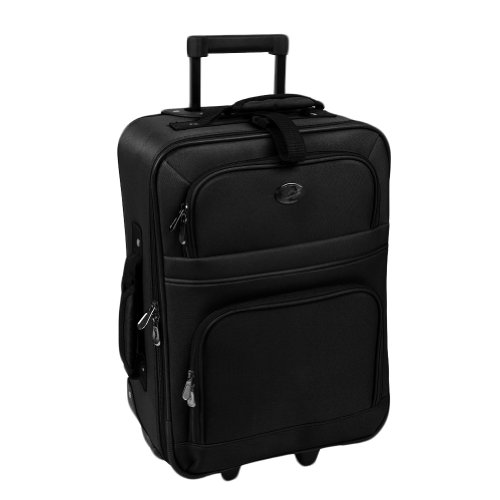 New Black Travel Carry On Suitcase On Wheels With Extendable Handle
