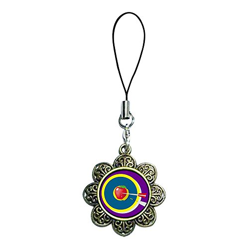 Giftjewelryshop Ancient Bronze Retro Style Moldova, Republic Of Flag Photo Sun Flower Strap Hanging Chain For Phone Cell Phone Charm