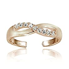 buy Hoops & Loops Sterling Silver Flash Plated Rose Gold Cubic Zirconia Infinity Toe Ring
