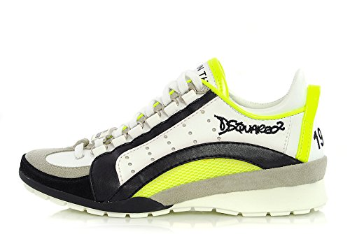 Scarpa DSQUARED2 Donna 551 Sneakers K504 Pelle Bianca, 1964, DSQUARED D2 (35, Fluo)
