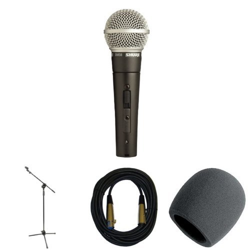Shure Sm58S Microphone With Stand, Cable, And Windscreen