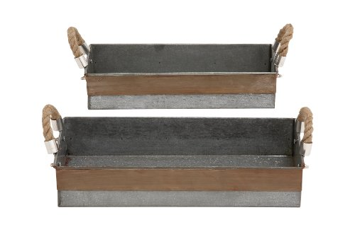 Benzara Antique and Classy Set of Two Galvanized Tray