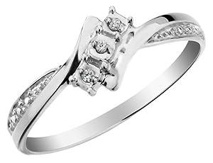 Three Stone Diamond Ring in 10K White Gold, Size 11