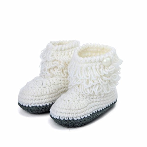 Malloom Newborn Baby Handmade Boots Crochet Knit Snow Booties First Walk Shoes Crochet Baby Booties Free