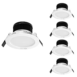 LE 6W LED Recessed Ceiling Lights, 50W Halogen Bulb Equivalent, Ø90mm, Warm White, Recessed Light, Downlight, Pack of 4 Units by Lighting EVER