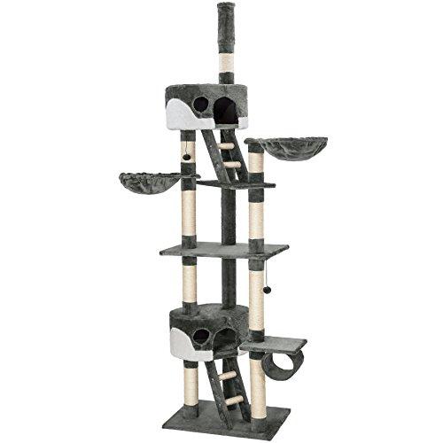 TecTake Tiragraffi per gatto gatti gioco palestra xxl grigio bianco 240-260 cm con fissaggio a soffitto